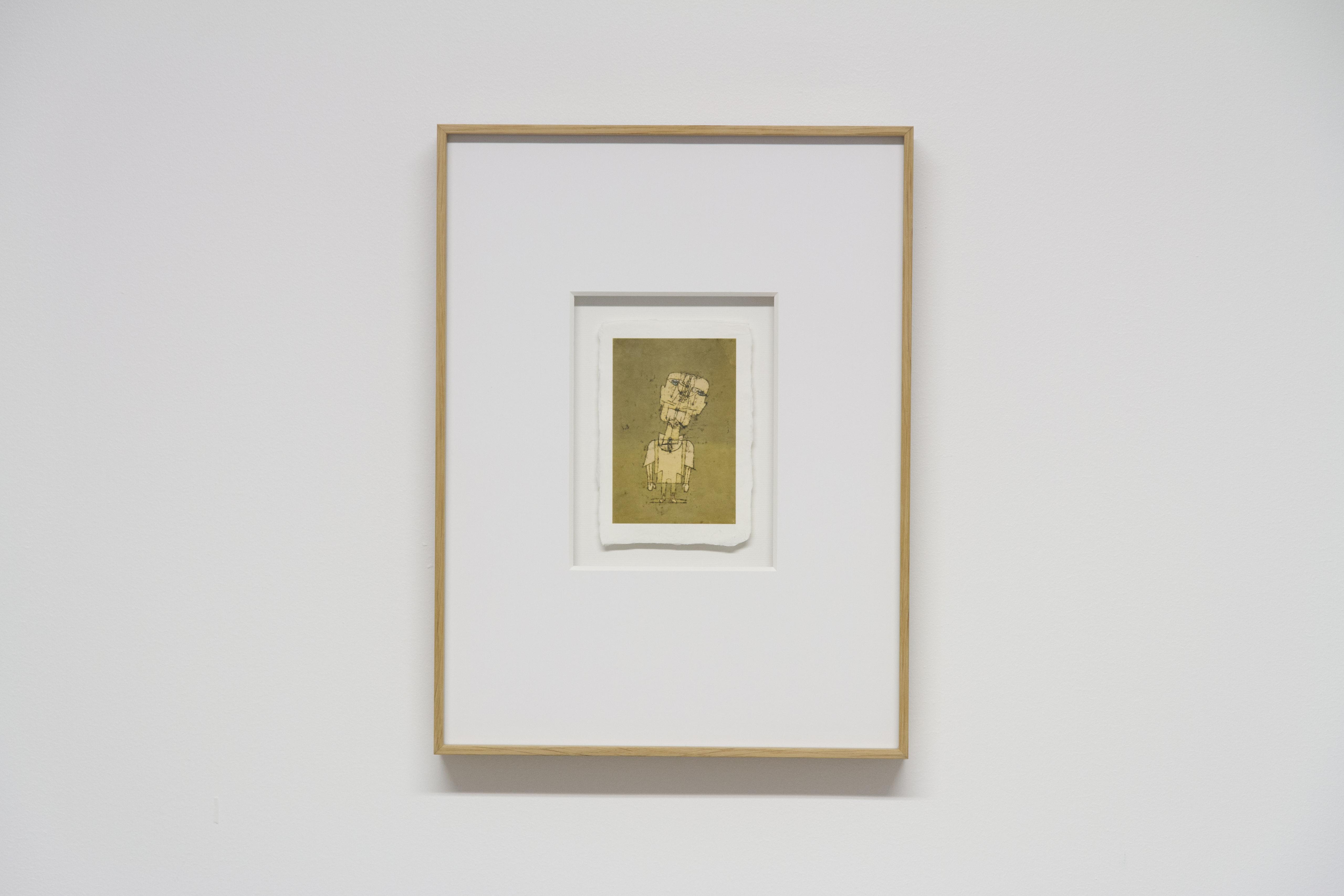 """reproduction """"Fantome d'un génie"""" de Paul Klee. Impression sur papier japonnais et encadement posé sur fond réalisés par Artlabs Nantes"""